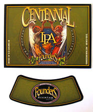 Founders Brewing CENTENNIAL IPA beer label MI 12oz with neck Var. #5