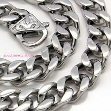 """24"""" 13mm Cool Men's Curb Cuban Chain 316L Stainless Steel Heavy Thick Necklace"""