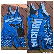 Blue Team Michigan Wrestling Singlet. Large.