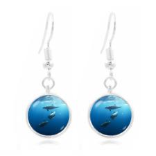 Blue ocean Dolphins Photo Art Glass Cabochon 16mm Charm Earring Earring Hooks