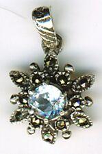 "925 Sterling Silver Blue Topaz & Marcasite Small Round Sunburst Pendant 1/2"" dia"