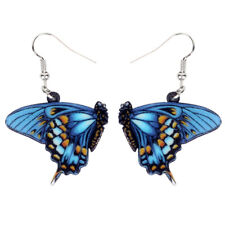 Acrylic Floral Blue Butterfly Earrings Drop Dangle Insect Jewelry For Women Gift
