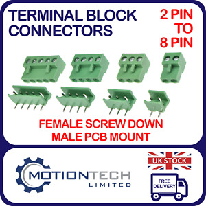 Green PCB Terminal Block Ramps Connector 5.08mm Plug-in Screw 2 3 4 5 6 7 8 PIN