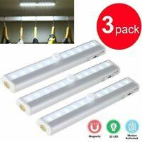3pcs 10 LED PIR Motion Sensor Light  Wireless Night Closet Magnetic Lamp Indoor