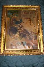 RARE SIGNED Original ART~MB~OIL PAINTING MARIE(MINNA)BACHMANN DOG CHASE ROOSTERS