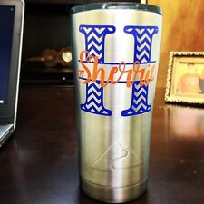 3 inch Two Color Chevron Initial Script Monogram Decal Sticker for YETI Tumbler