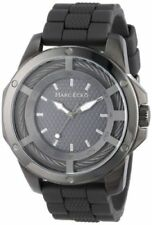 Marc Ecko Mens The Shock Black IP Stainless Steel Bolt Cable Case Silicone Watch