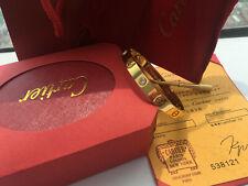 NEW 18k Yellow Gold Love Bracelet 4 Diamonds Size 17