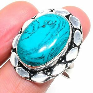 Santa Rosa Turquoise Gemstone Handmade 925 Sterling Silver Jewelry Ring Size 8.5