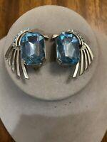 Vintage Zoe Coste France Blue Rhinestone Silver tone Clip On Earrings