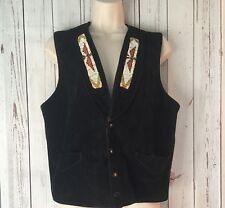 Vintage Suede Leather City USA Black Vest Beaded Eagle Pockets Med Native Festiv