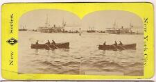 Row Boat Men Ships New York Harbor Stereoview /WEBSTER MA Toy Tinware Trade Card