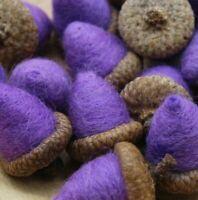 12 Prim Purple Acorn Bowl Fillers Needle Felted Melissa Philbrook 100% US WOOL