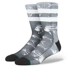 STANCE MENS SOCKS.FISH BONE POLY BLEND BLACK WHITE ARCH SUPPORT.SIZE UK 8.5-11.5