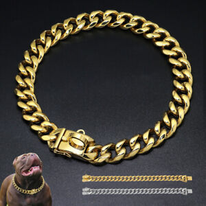 """Gold/Silver Dog Chain Collar Pet Cuban Link Stainless Steel Heavy 13.5""""-21.5"""""""