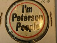 Vintage I'm Peterson People Election Campaign  Pinback Button Pin