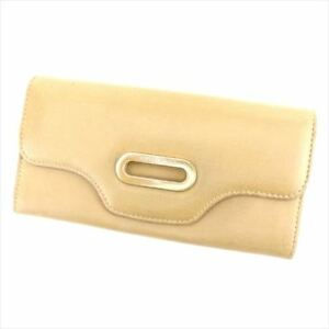 Jimmy Choo Wallet Purse Long Wallet Beige Woman Authentic Used T6882
