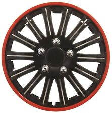 Streetwize Lightning Sports 15 Inch Wheel Trim Set Black Red Set of 4 Hub Caps