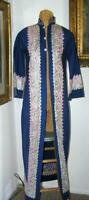 Antique Iranian Embroidered Blue Wool Robe Long Coat XS Middle EAST