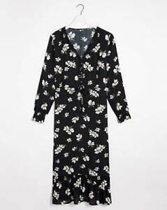 CAPSULE Dark Floral Lace Trim Midi Dress  UK 18   US 14   EUR 46   (FS101-3)