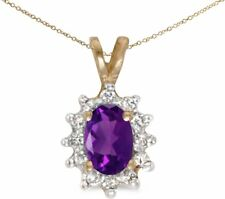 10k Yellow Gold Oval Amethyst And Diamond Pendant (Chain NOT included)