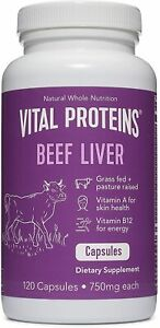 Vital Proteins, Beef Liver, 750 mg, 120 Capsules, Pasture-raised, Grass-fed, NEW
