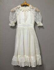 Vintage Girls Gunne Sax Hippie Boho Prairie Victorian Sheer Cotton Lace Dress 12