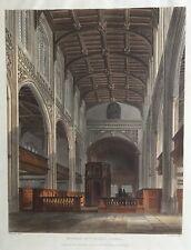 1815 Antique Print; Interior of St Mary's Church, Cambridge, Ackermann / Westall