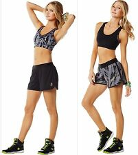 ZUMBA FITNESS ~2 PIECE SET! Reversible SHORTS & Sports BRA TOP Crossfit, Running