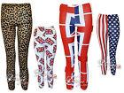 Girls Kids Printed Leggings Union Jack Leopard USA Flag Print Legging 7-13 Years