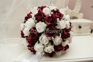 Sues Flowers Brides Bouquet in Burgundy and Ivory. wedding flowers