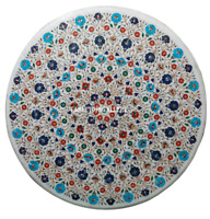 """24"""" White Marble Center Coffee Table Top Inlay Multi Floral Living  Decor H968"""