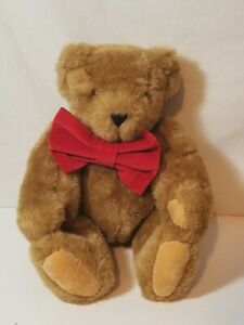 """17"""" Vermont Teddy Bear Jointed Valentine Red Bow  USA Made"""