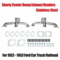 For 1932-1953 STAINLESS Ford Flathead V8 Car Pickup Truck Shorty Exhaust Headers