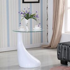 Modern White Coffee Table Side/ End Table Clear Glass Living Room Furniture