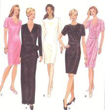 Vintage Women's Gathered Wrap Side Tie Sheath Wiggle Dress Sewing Pattern UNCUT