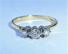 18ct Gold 0.40ct Diamond Three Stone Engagement Ring, Size O