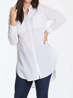 Capsule ladies blouse tunic shirt top plus size 20 22 white cotton longline