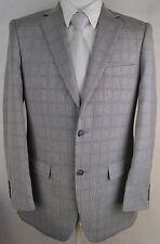#Y661 NEW PERRY ELLIS PORTFOLIO Light Grey Plaid Two Button Suit 40L/34W