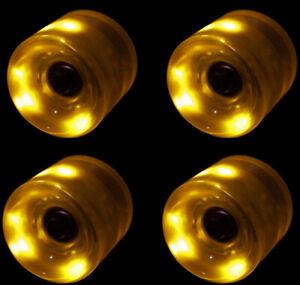 LED Skateboard Wheels 60MM YELLOW Glow Cruiser Longboard LIGHTS +ABEC 9 BEARINGS