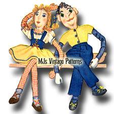 "Vintage 1940s Girl & Boy Dolls Pattern ~ Big 29"" tall Danny & Dolly Dingle"