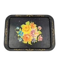 Vtg Black Metal Distressed Hand Painted Floral Shabby Rustic Chic Tray Platter