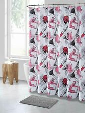 Pink Black White Makeup Print PEVA Shower Curtain Liner Odorless Eco-Friendly