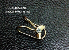 Golden Crescent Moon Crystal Ear cuff Clip on Earring for Non Pierced ears 1 PC