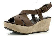 Cordani Brown Leather Wedge Sandals 4592 Size 37 EU NEW!