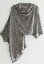 OBAKKI Sequin Silk Asymmetric Dolman Draped Dressy Evening Top Blouse, $400, XS