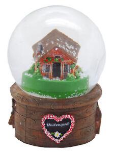 Souvenir Schneekugel Hüttengruß Almhütte