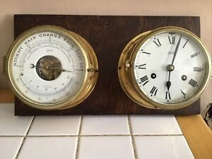 """Vintage SCHATZ BRASS SHIP CLOCK and BAROMETER on Wood Backboard """"WORKS EXCELLENT"""