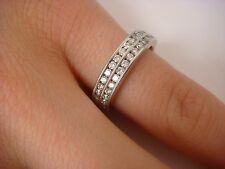 ELEGANT 2 ROW DIAMONDS WEDDING-ANNIVERSARY RING MILGRAIN DESIGN 18K GOLD