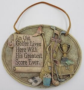Old Golfer Gift Wall Plaque Sign Best Score Ever Spoontiques Fun Hanging Decor